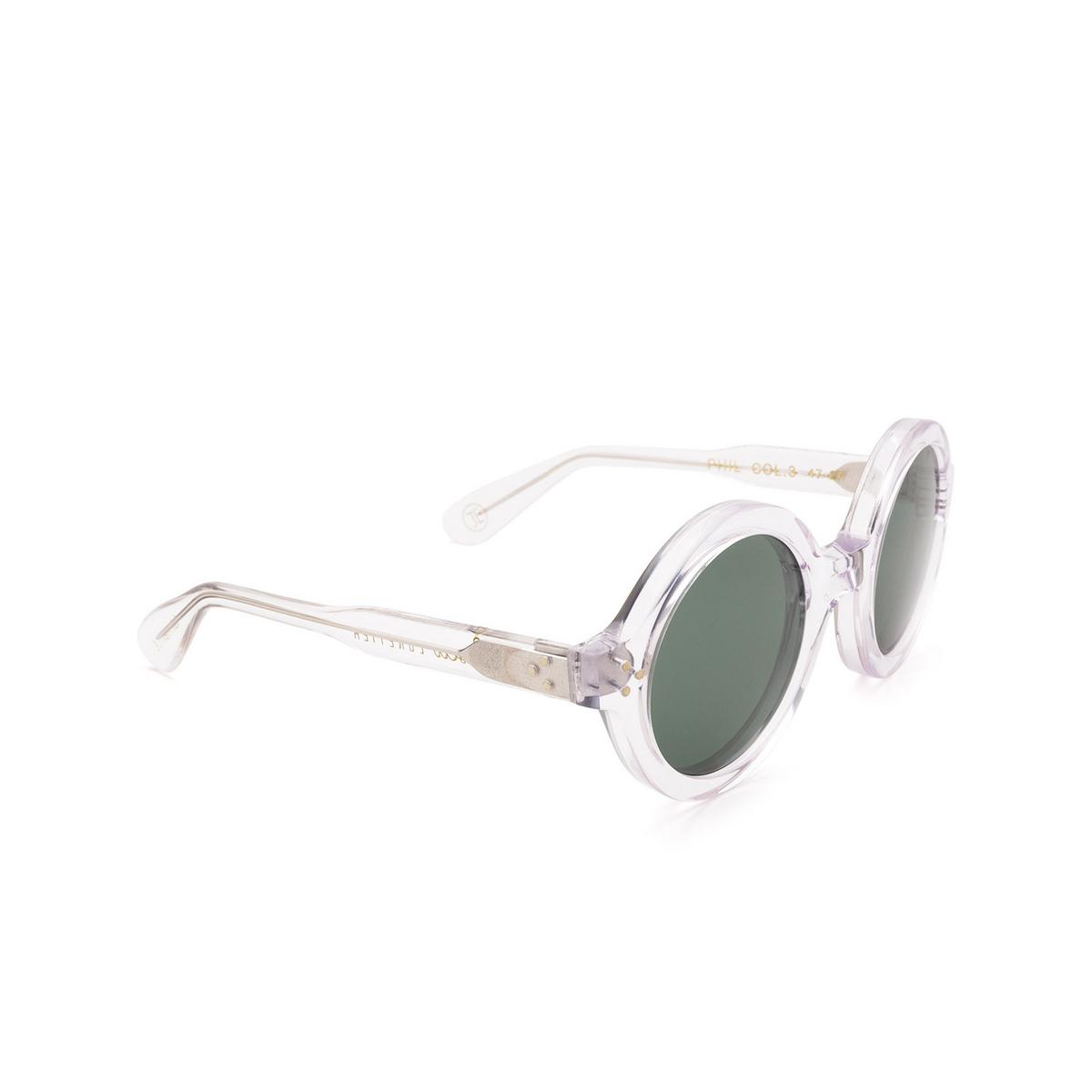 Lesca® Round Sunglasses: Phil Sun color Crystal 3 - three-quarters view.