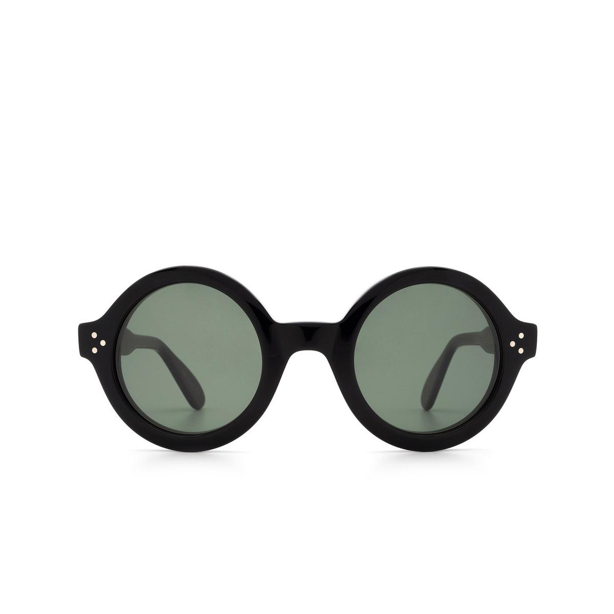 Lesca® Round Sunglasses: Phil Sun color Black 5 - front view.