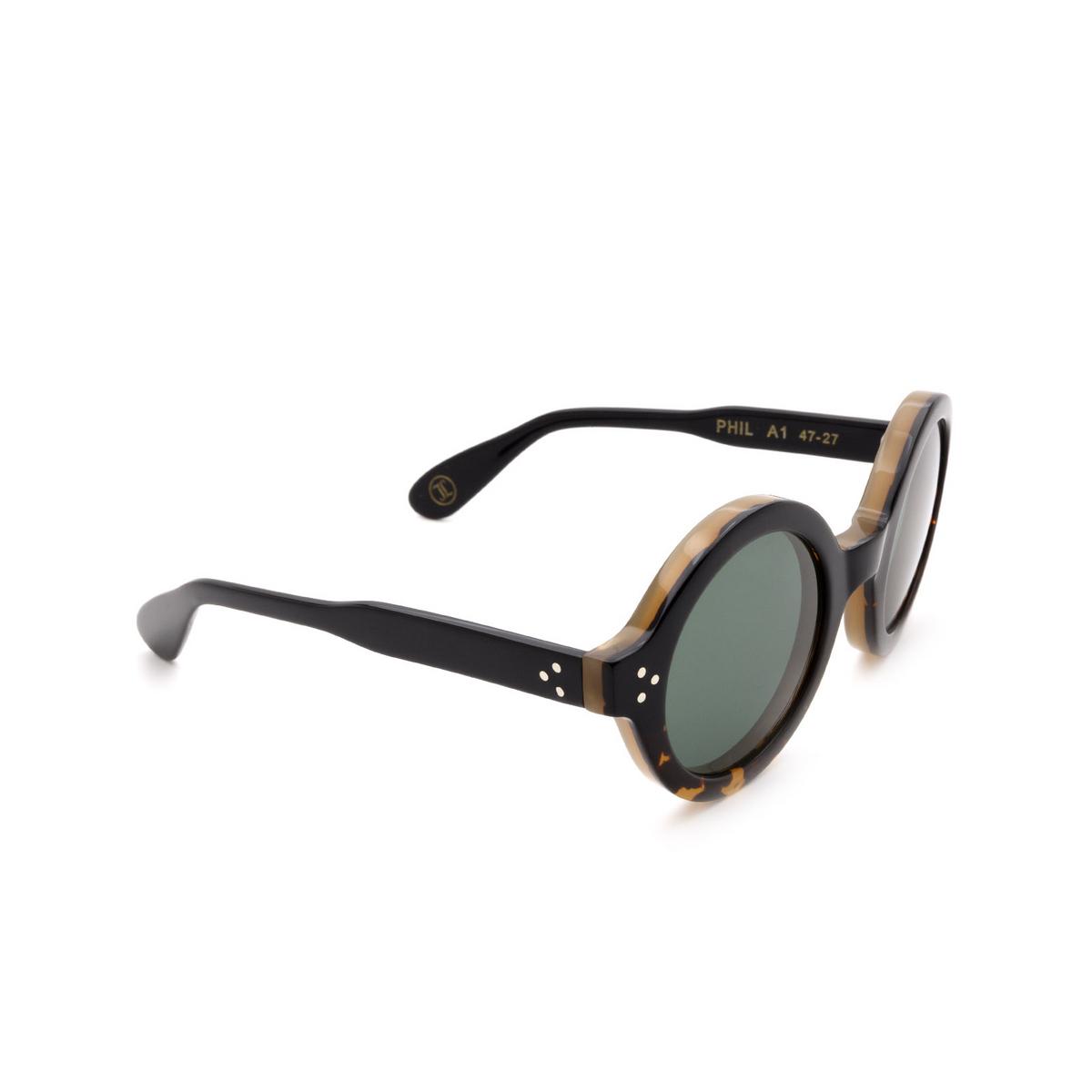 Lesca® Round Sunglasses: Phil Sun color Dark Havana A1 - three-quarters view.