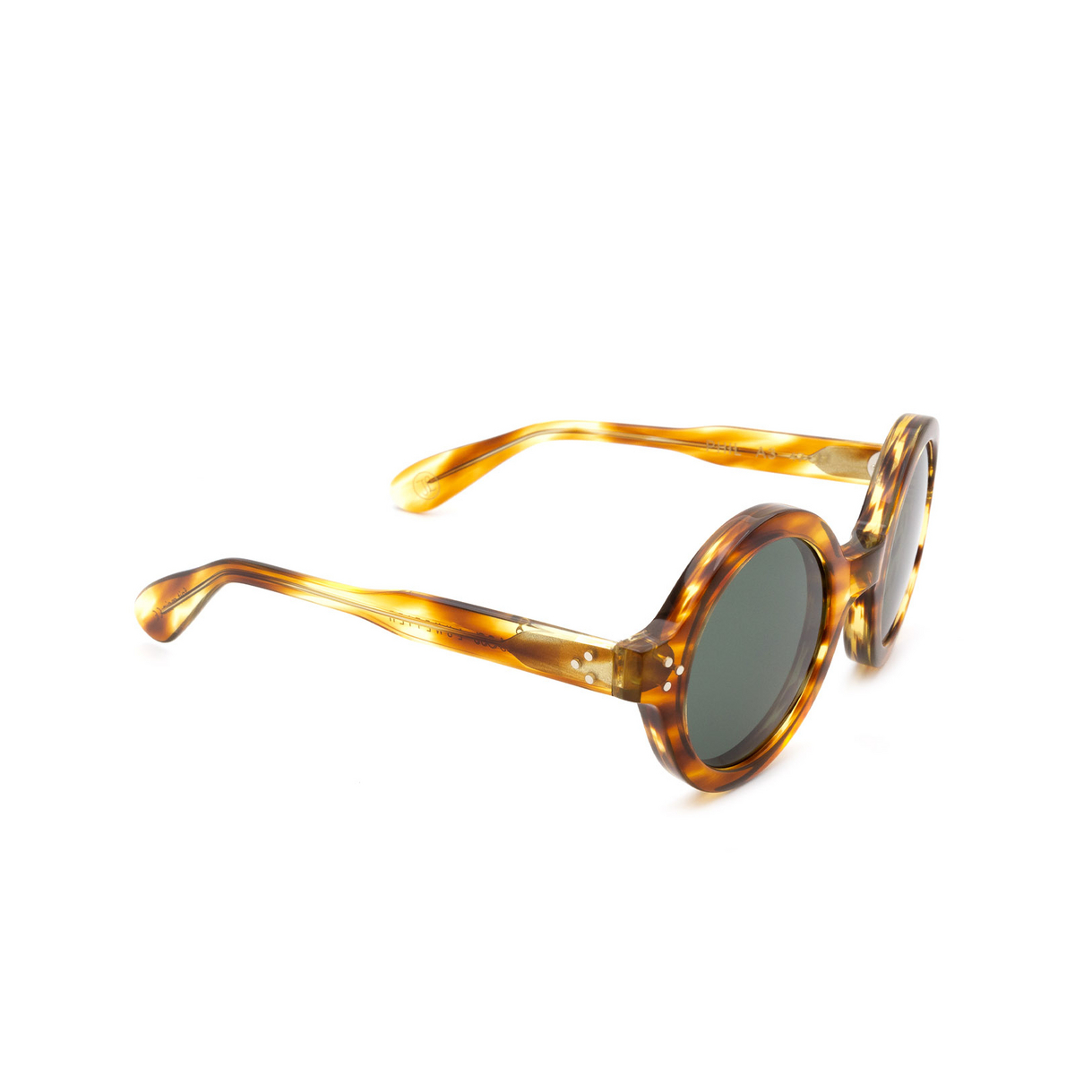 Lesca® Round Sunglasses: Phil Sun color Écaille Jaspé A3.