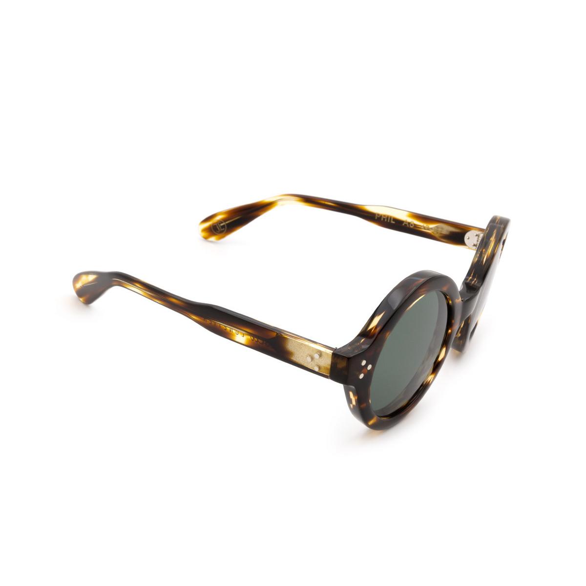 Lesca® Round Sunglasses: Phil Sun color Light Tortoise Tortoise A8 - three-quarters view.