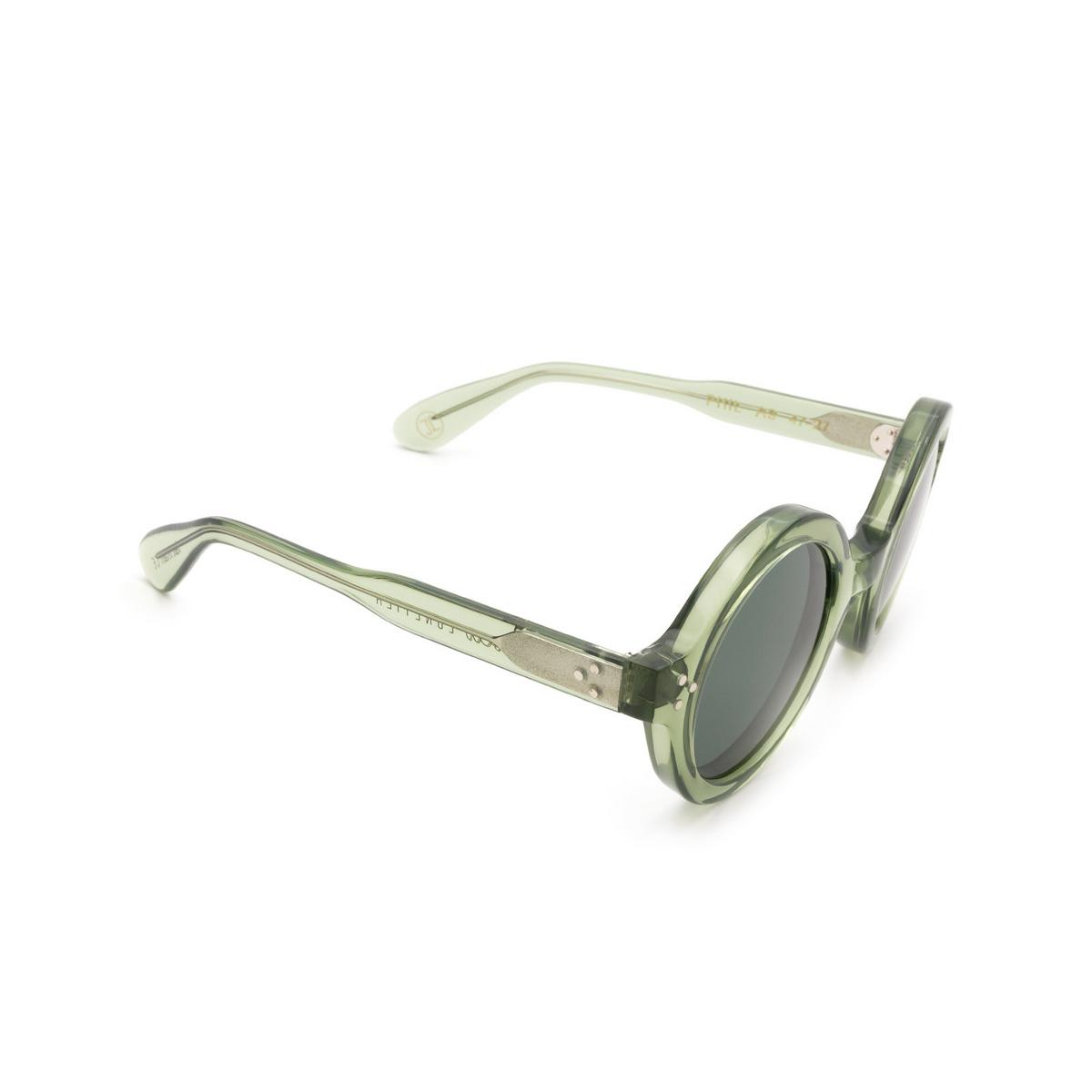Lesca® Round Sunglasses: Phil Sun color Green 2 A9 - three-quarters view.