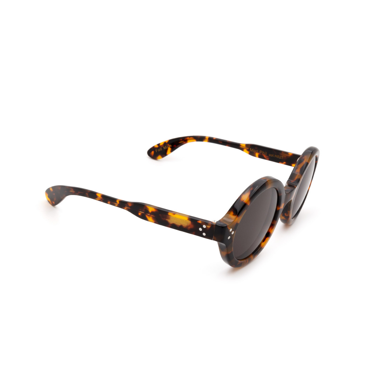 Lesca® Round Sunglasses: Phil Sun color Marble Tortoise H827 - three-quarters view.
