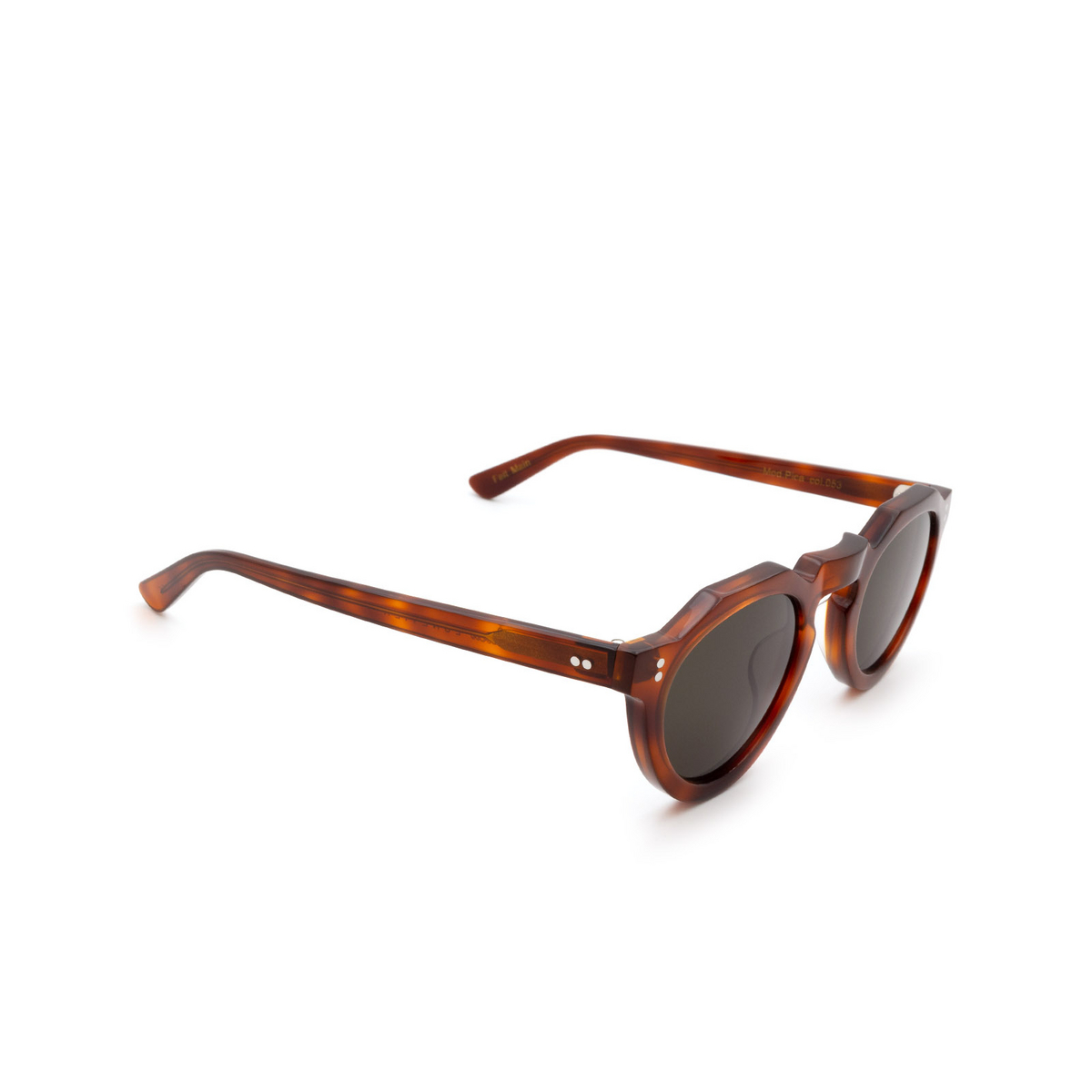 Lesca® Irregular Sunglasses: Pica Sun color Light Tortoise 53 - three-quarters view.