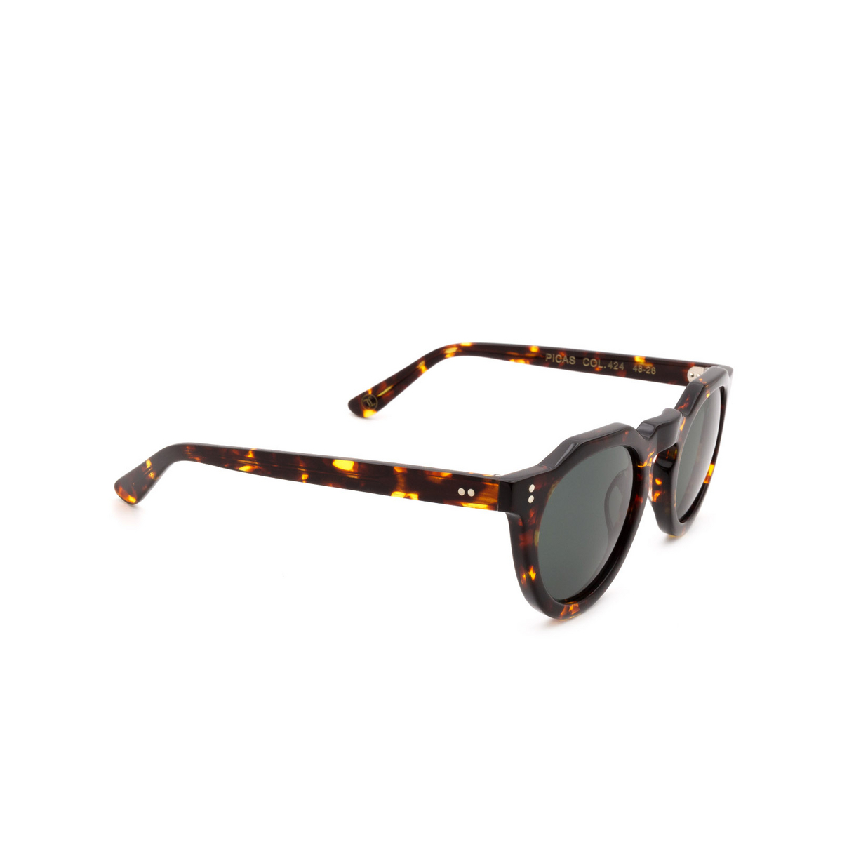 Lesca® Irregular Sunglasses: Picas color Écaille Foncé 424 - three-quarters view.