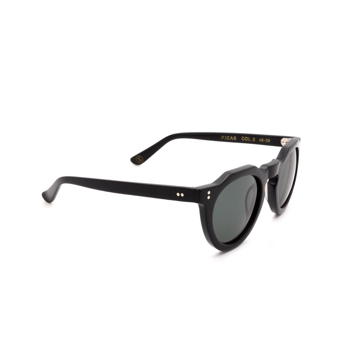 Lesca® Irregular Sunglasses: Picas color Noir 5 - three-quarters view.