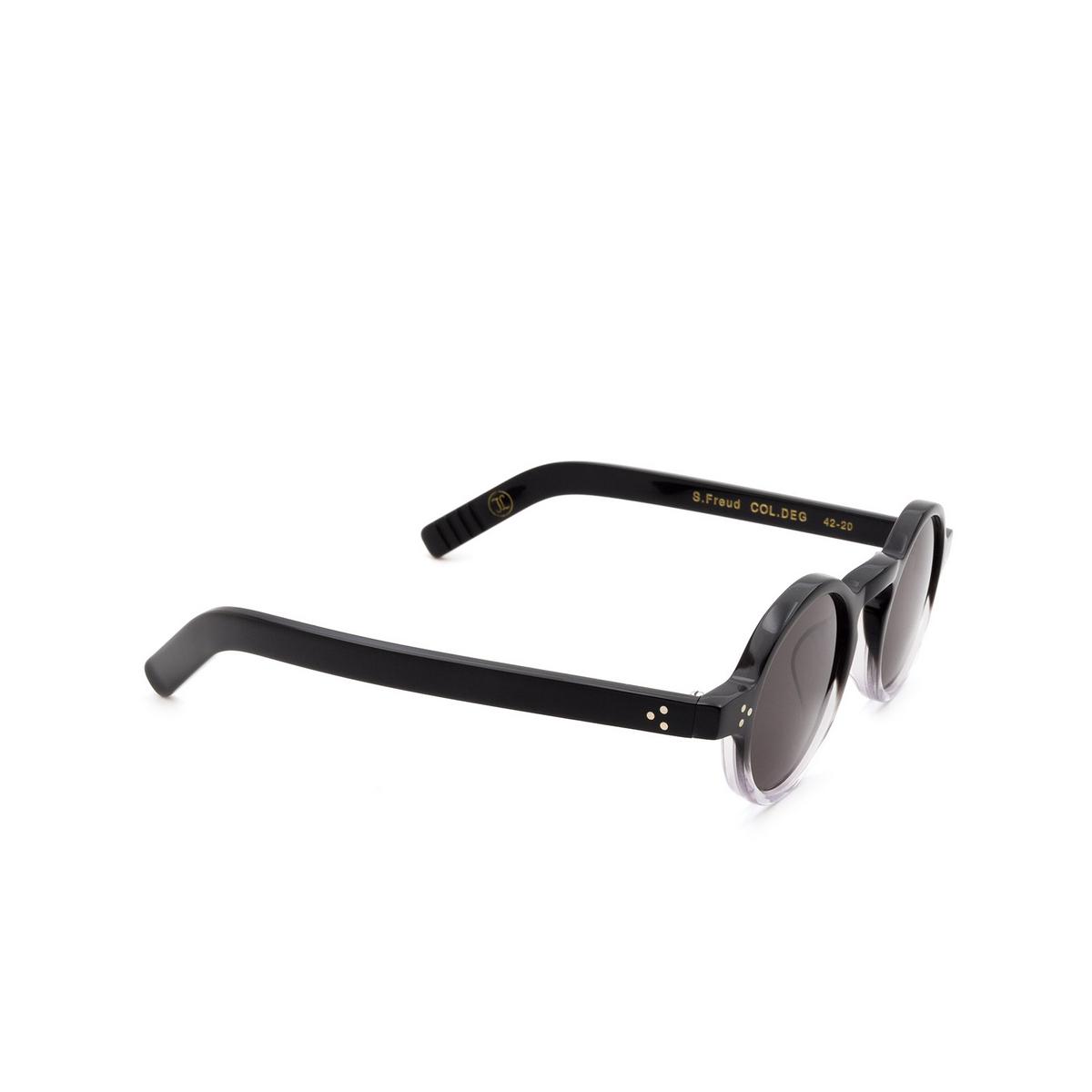 Lesca® Round Sunglasses: S.freud color Noir Degradé Deg - three-quarters view.
