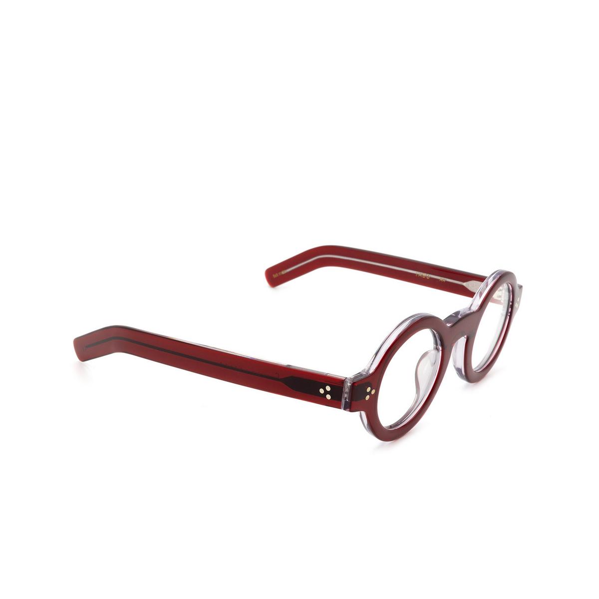 Lesca® Round Eyeglasses: Tabu Optic color Rouge A4 - three-quarters view.