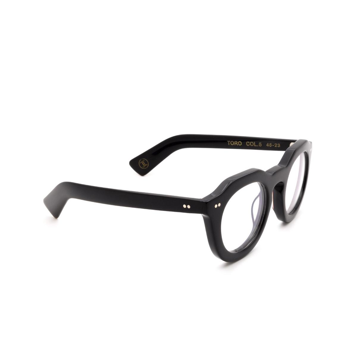 Lesca® Irregular Eyeglasses: Toro Optic color Black 5 - three-quarters view.