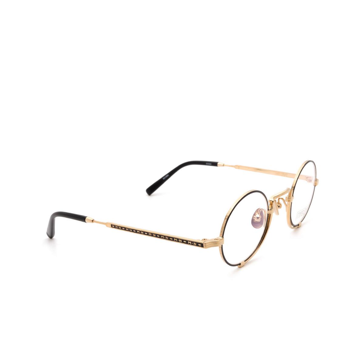 Matsuda® Round Eyeglasses: 10103H color Brushed Gold / Matte Black Bg-mbk.