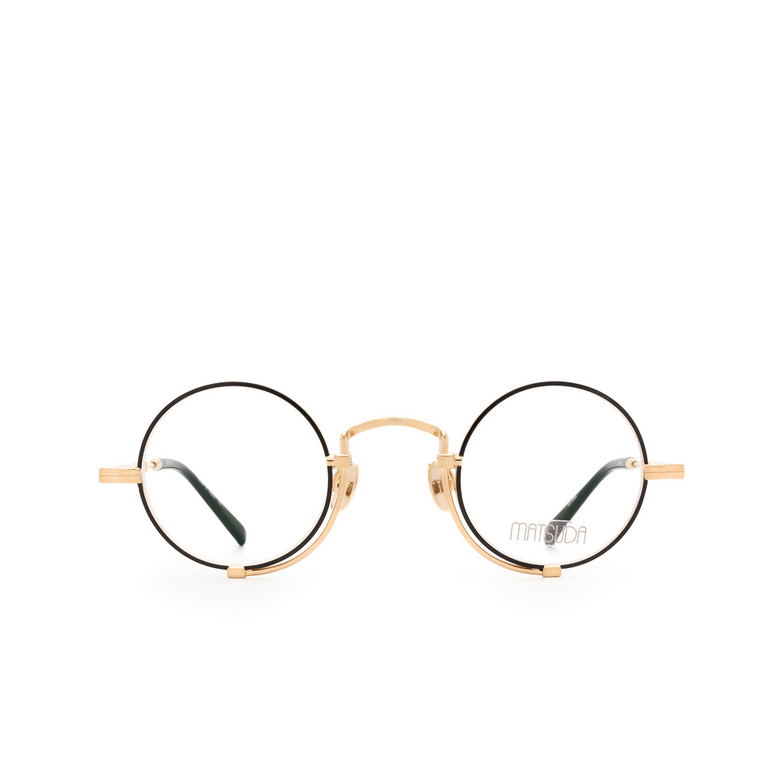 Matsuda® Round Eyeglasses: 10103H color Brushed Gold / Matte Black Bg-mbk.