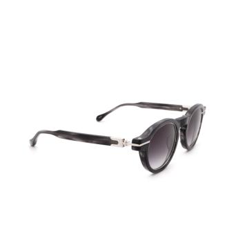 Matsuda® Round Sunglasses: M2050 color Black Stripe / Brushed Silver Bks-bs.