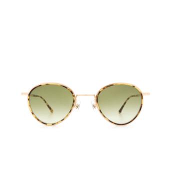 Matsuda® Round Sunglasses: M3070 color Tortoise / Brushed Gold Tot-bg.