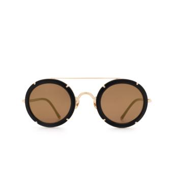 Matsuda® Round Sunglasses: M3080 color Matte Black / Brushed Gold Mbk-bg.