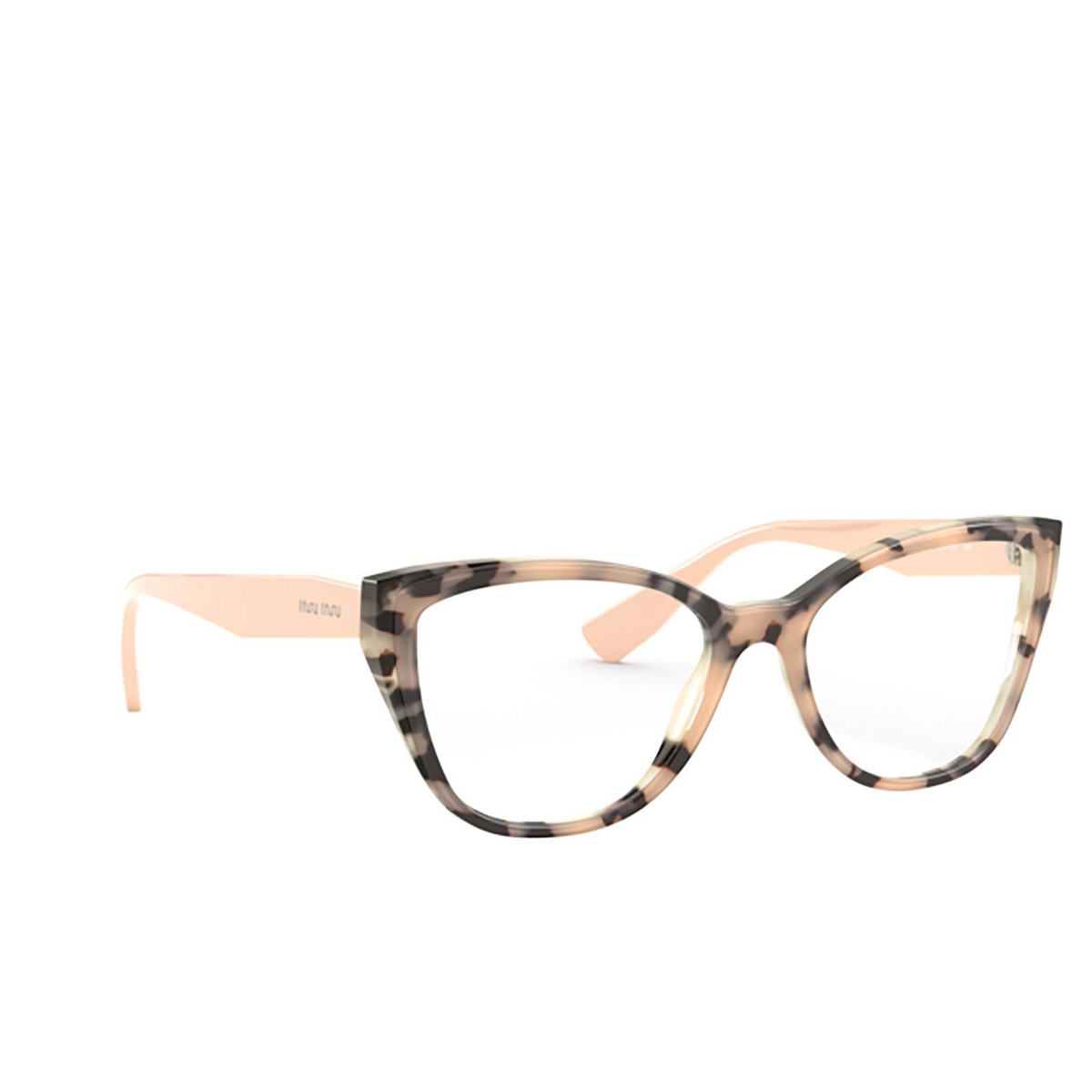 Miu Miu® Butterfly Eyeglasses: Core Collection MU 04SV color Havana Pink On Top 07D1O1 - three-quarters view.