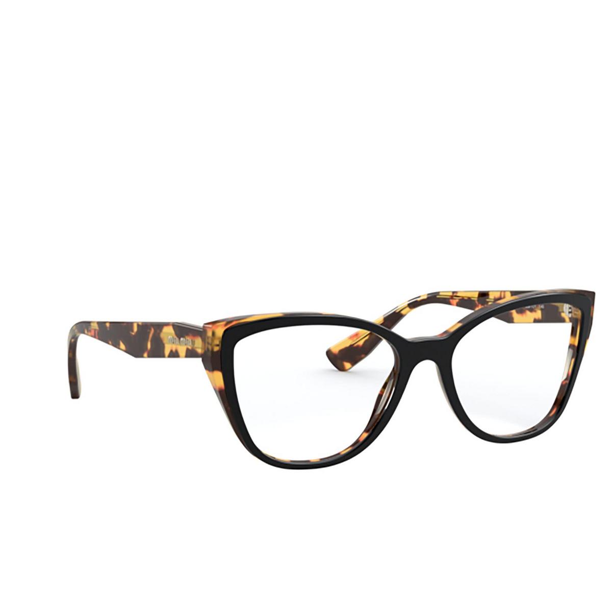 Miu Miu® Butterfly Eyeglasses: Core Collection MU 04SV color Top Black / Light Havana 3891O1 - three-quarters view.
