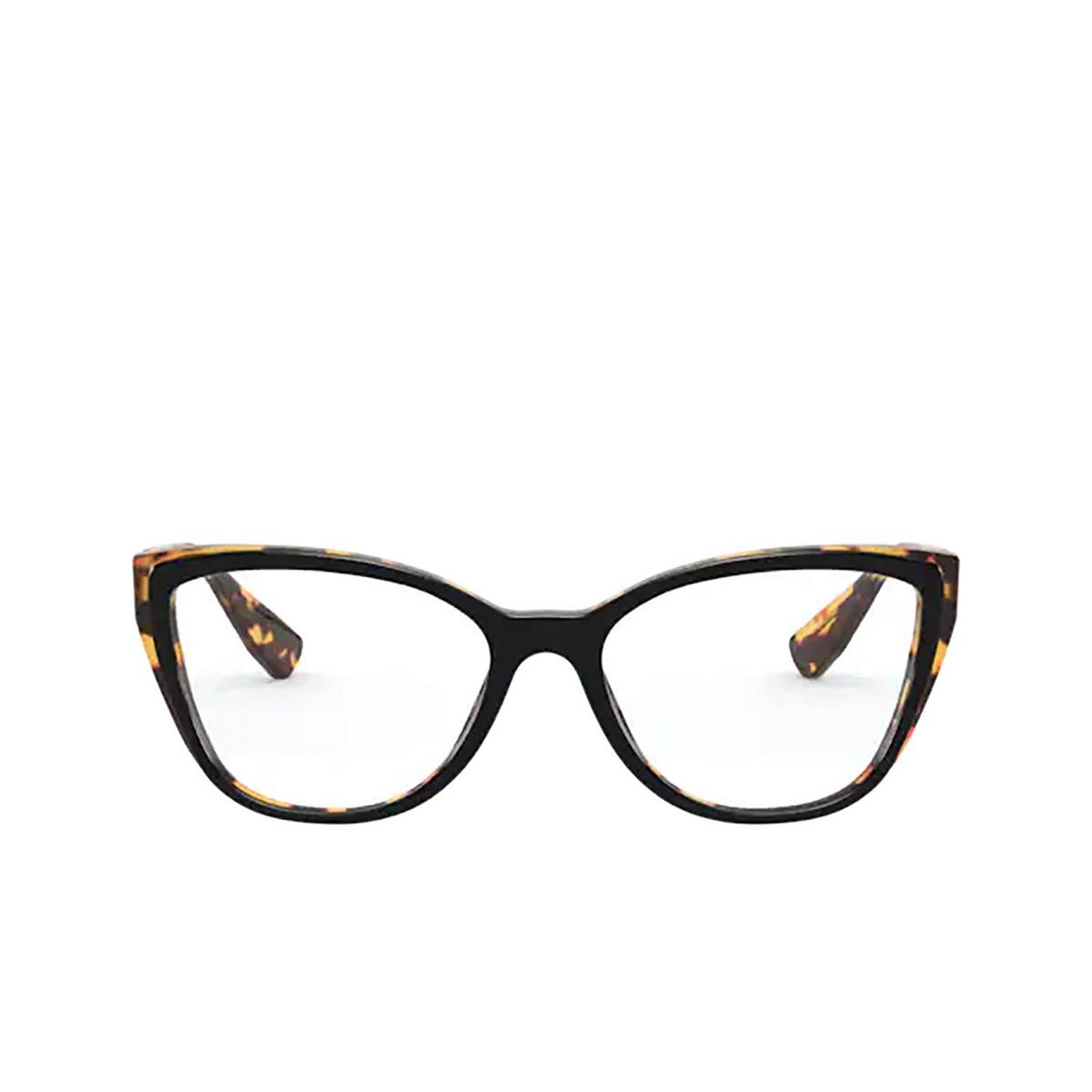 Miu Miu® Butterfly Eyeglasses: Core Collection MU 04SV color Top Black / Light Havana 3891O1 - front view.