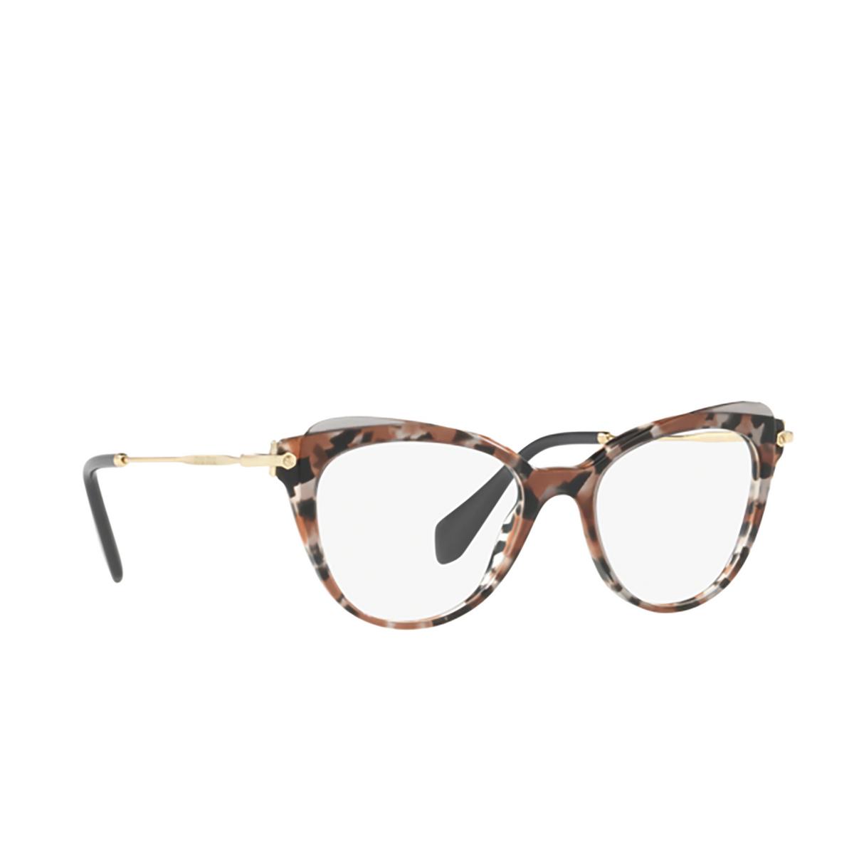 Miu Miu® Cat-eye Eyeglasses: MU 01QV color Grey Havana / Cocoa / Grey Transp 1111O1 - three-quarters view.