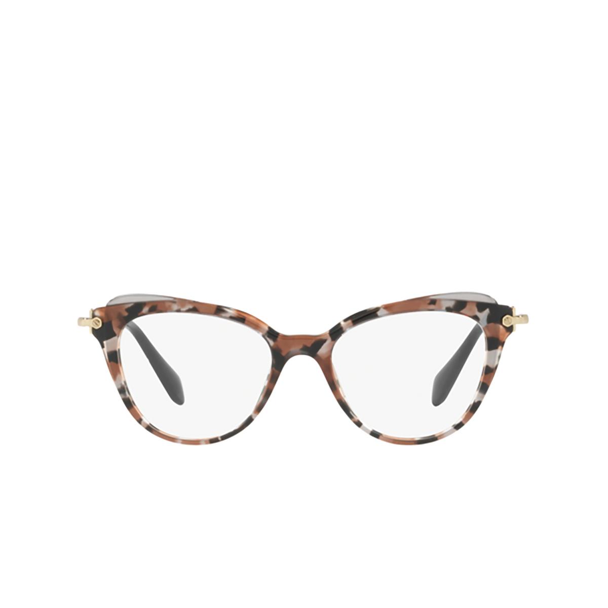 Miu Miu® Cat-eye Eyeglasses: MU 01QV color Grey Havana / Cocoa / Grey Transp 1111O1 - front view.