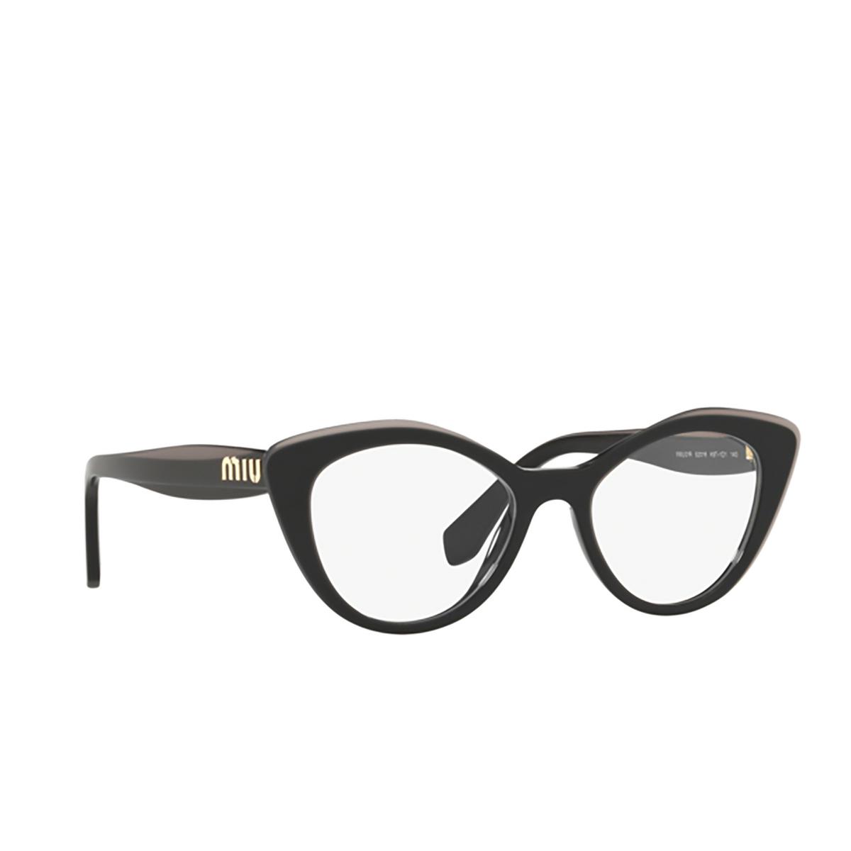 Miu Miu® Cat-eye Eyeglasses: MU 01RV color Black Top Grey K9T1O1 - three-quarters view.