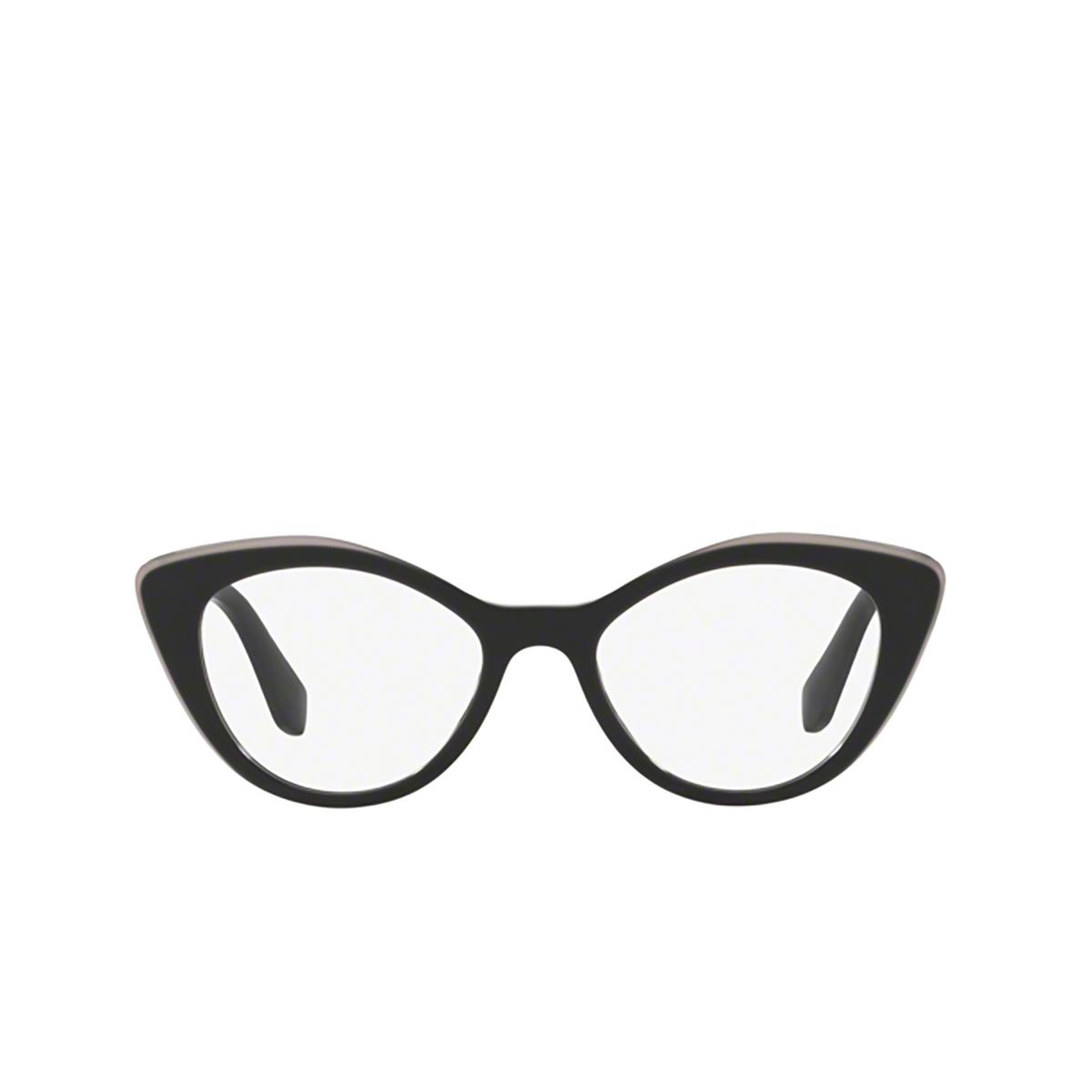Miu Miu® Cat-eye Eyeglasses: MU 01RV color Black Top Grey K9T1O1 - front view.