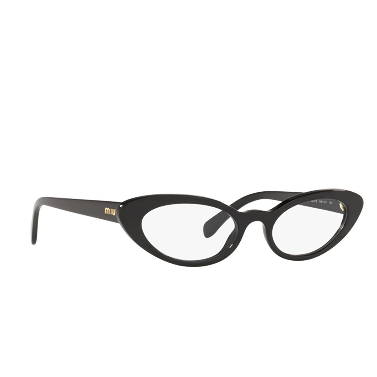 Miu Miu® Cat-eye Eyeglasses: MU 01SV color Black 1AB1O1 - three-quarters view.