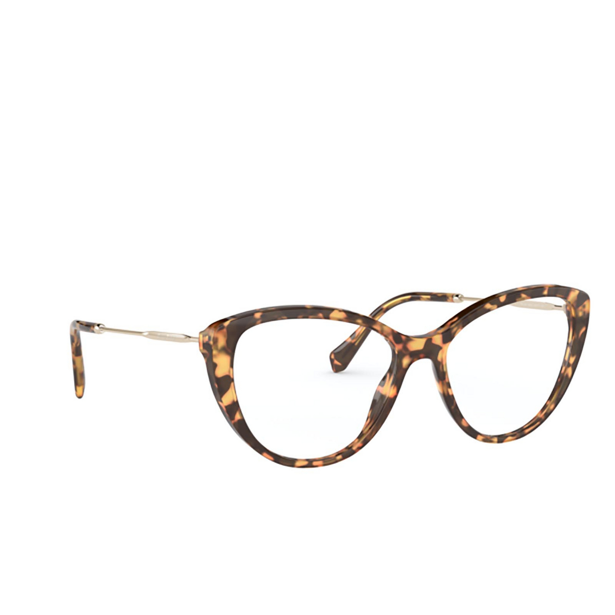 Miu Miu® Cat-eye Eyeglasses: MU 02SV color Light Havana 7S01O1 - three-quarters view.