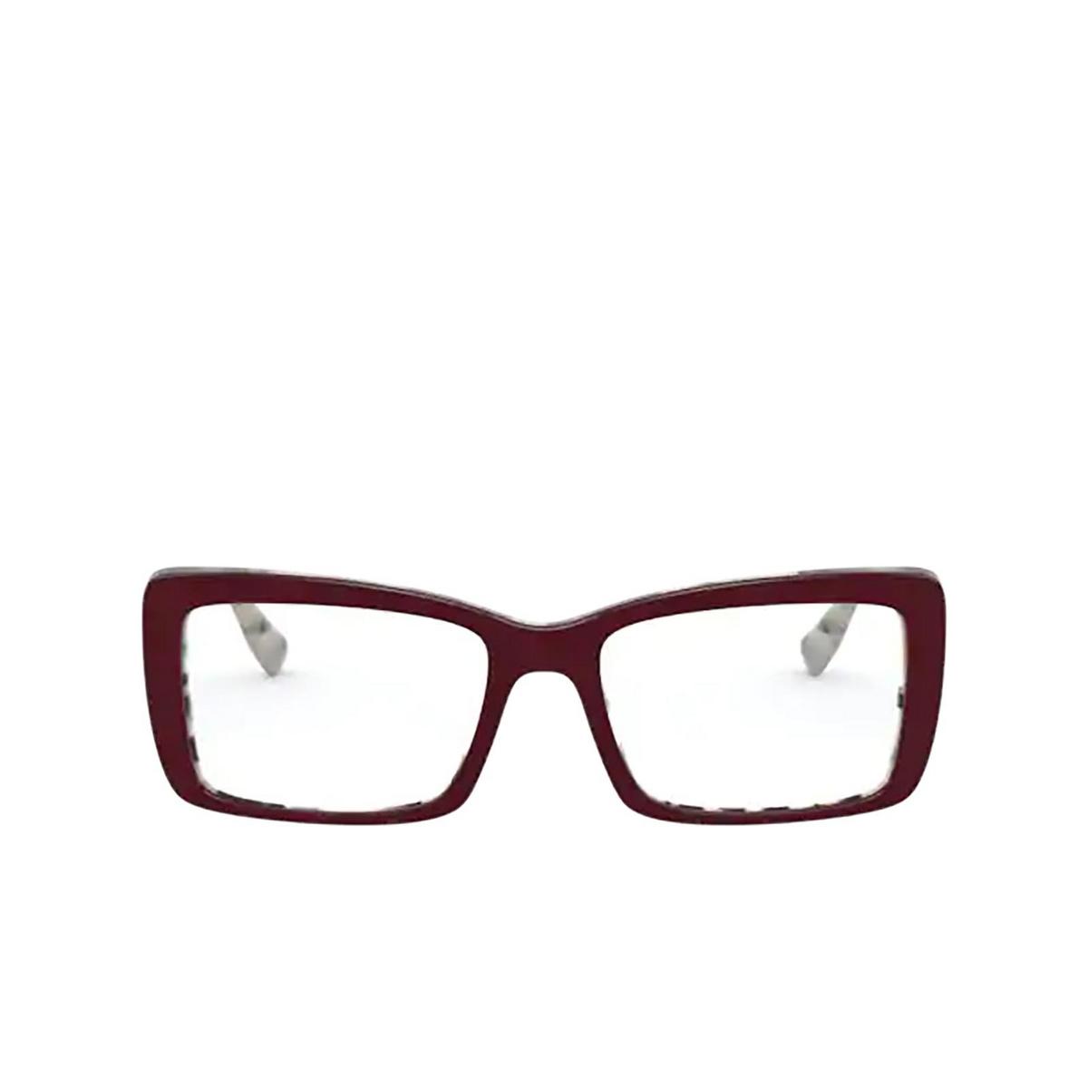 Miu Miu® Rectangle Eyeglasses: MU 03SV color Beige Havana Top Bordeaux 03E1O1 - front view.