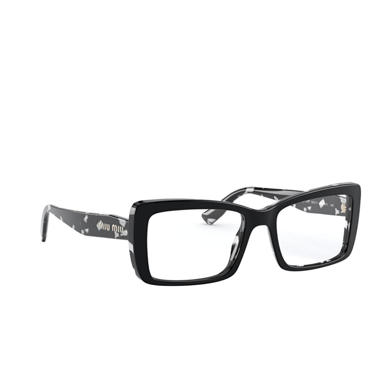 Miu Miu® Rectangle Eyeglasses: MU 03SV color Havana Black White Top Black 06E1O1 - three-quarters view.