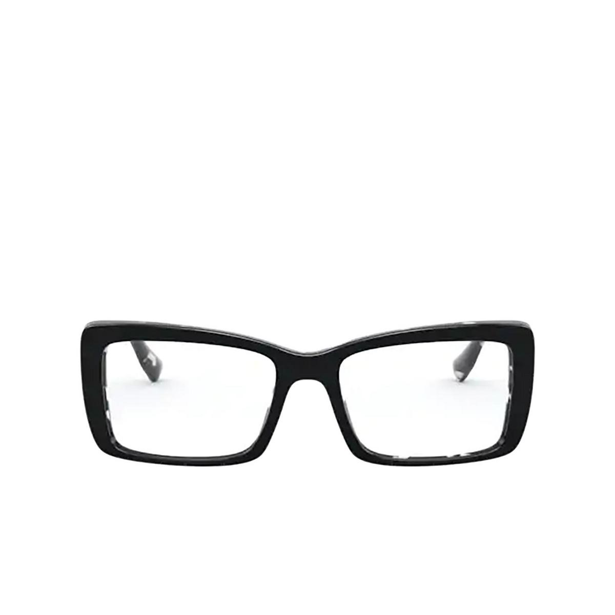 Miu Miu® Rectangle Eyeglasses: MU 03SV color Havana Black White Top Black 06E1O1 - front view.