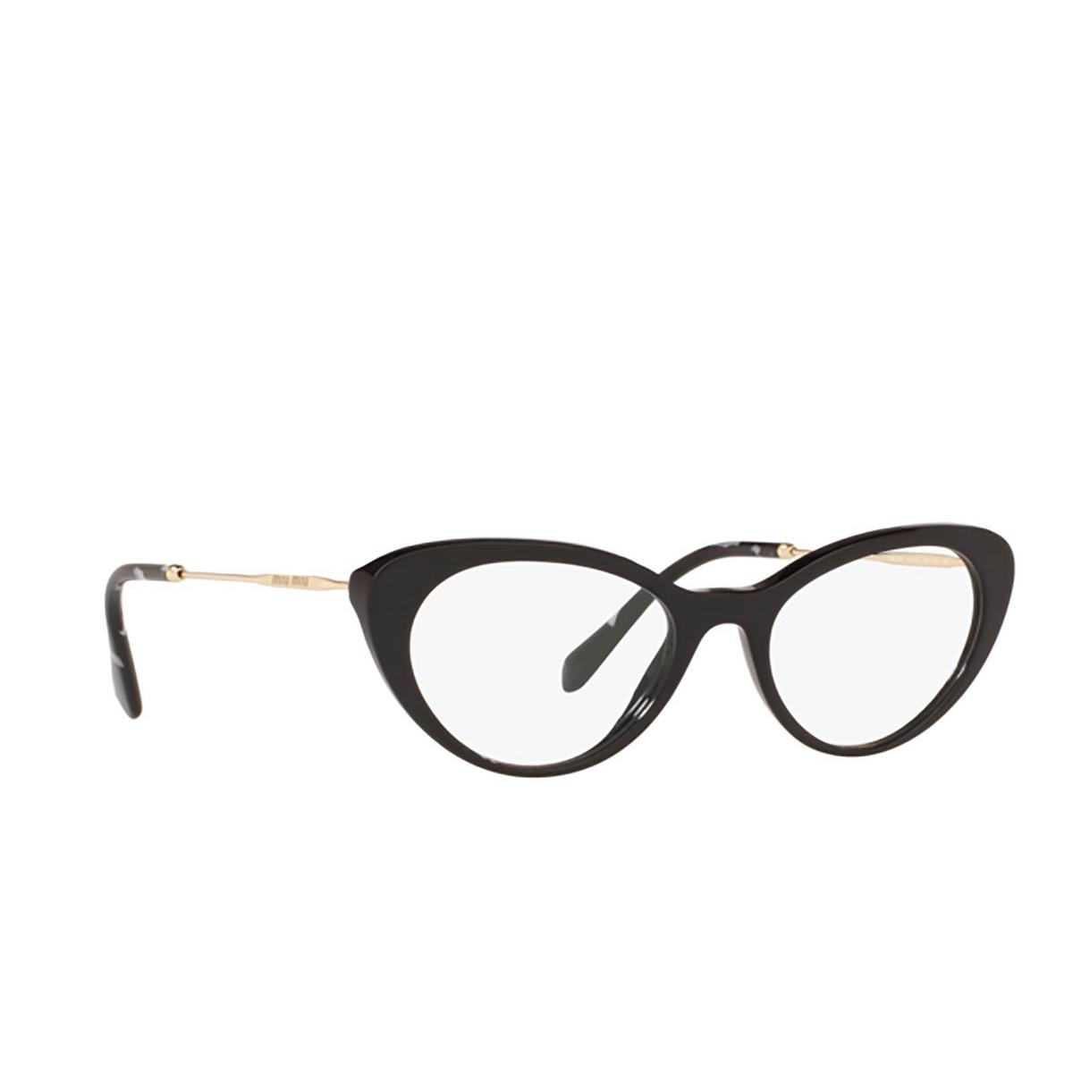 Miu Miu® Cat-eye Eyeglasses: MU 05RV color Black 1AB1O1 - three-quarters view.