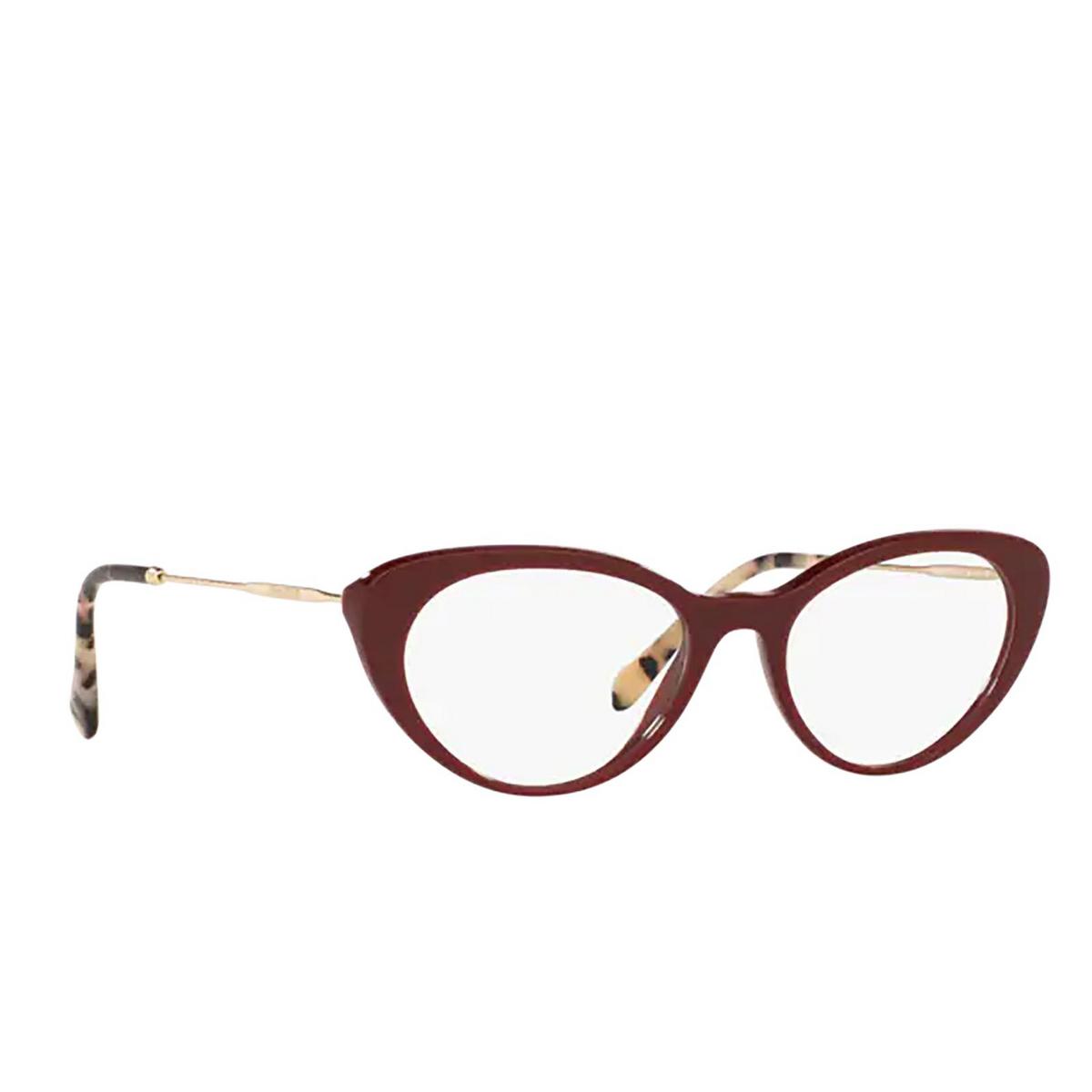 Miu Miu® Cat-eye Eyeglasses: MU 05RV color Bordeaux USH1O1 - three-quarters view.