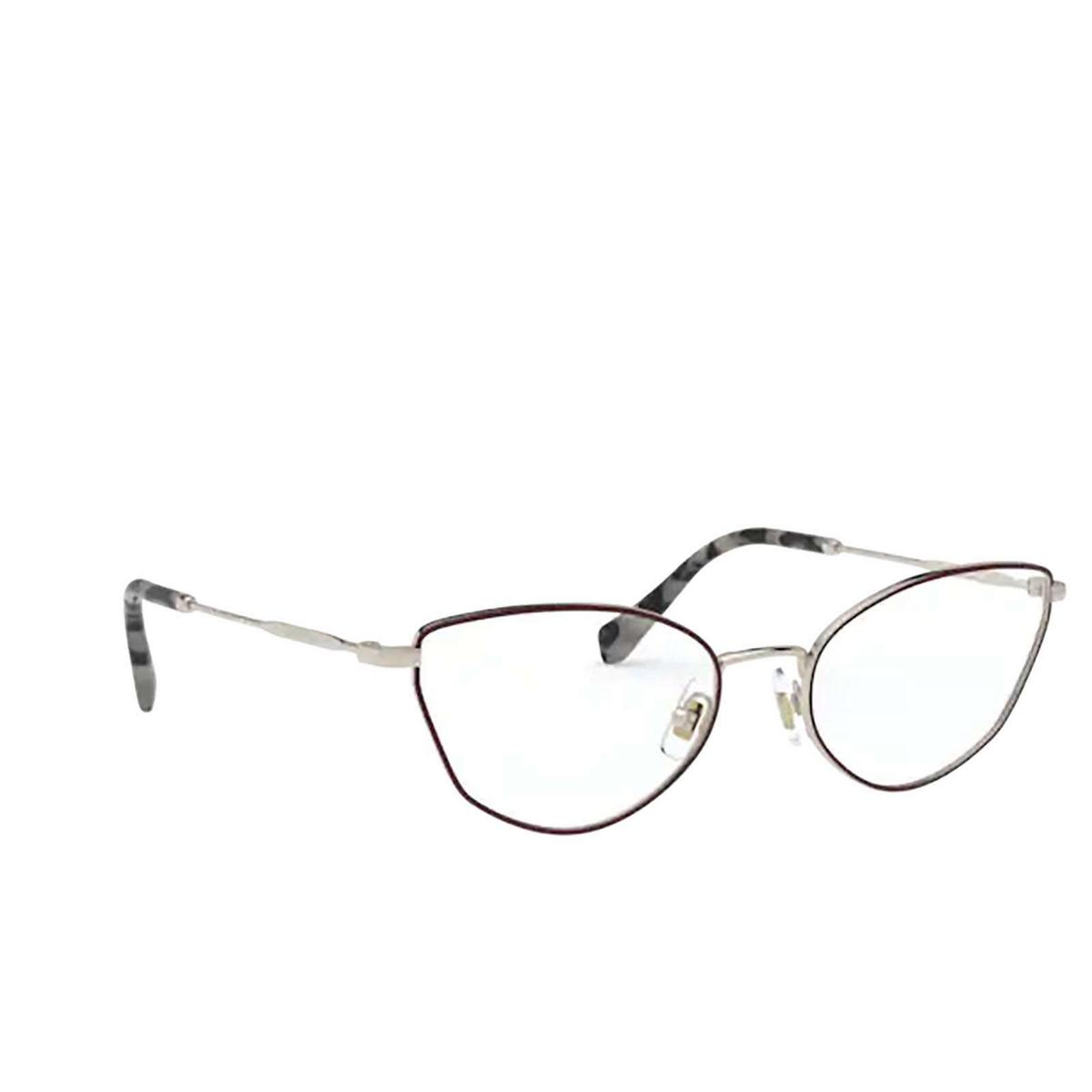 Miu Miu® Cat-eye Eyeglasses: MU 51SV color Pale Gold / Bordeaux 09B1O1 - three-quarters view.