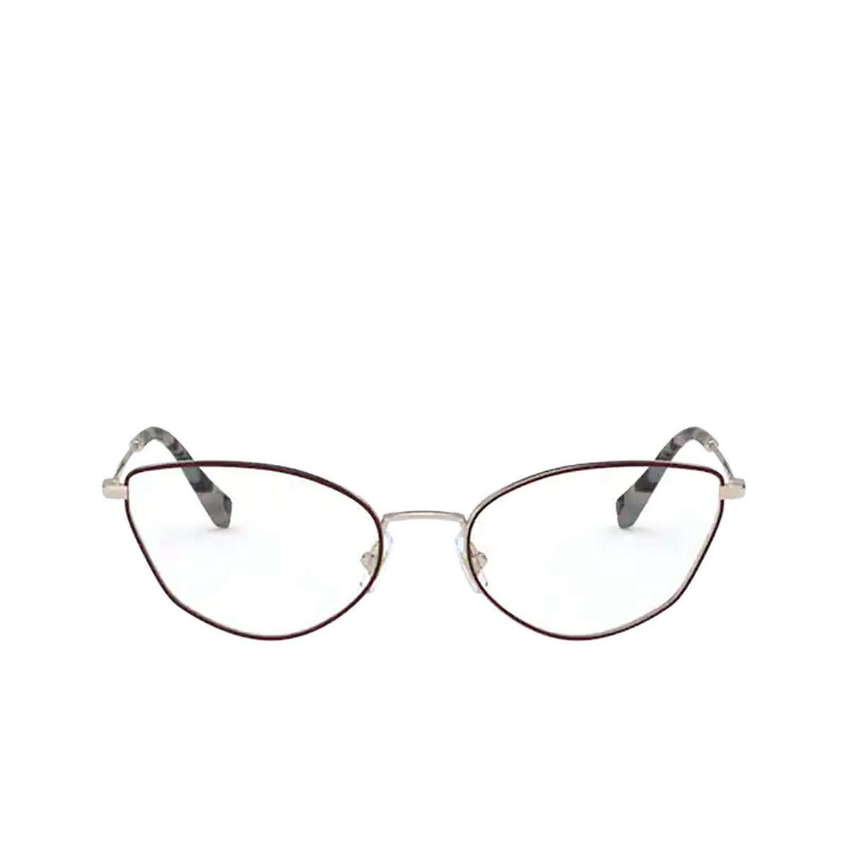Miu Miu® Cat-eye Eyeglasses: MU 51SV color Pale Gold / Bordeaux 09B1O1 - front view.