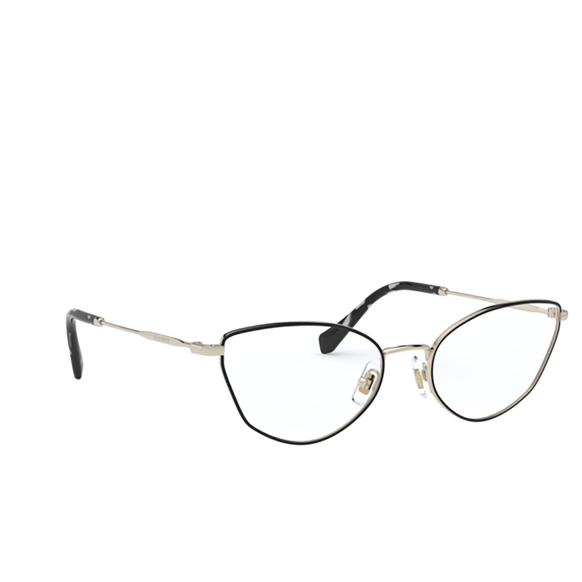 Miu Miu® Cat-eye Eyeglasses: MU 51SV color Pale Gold / Black AAV1O1 - three-quarters view.