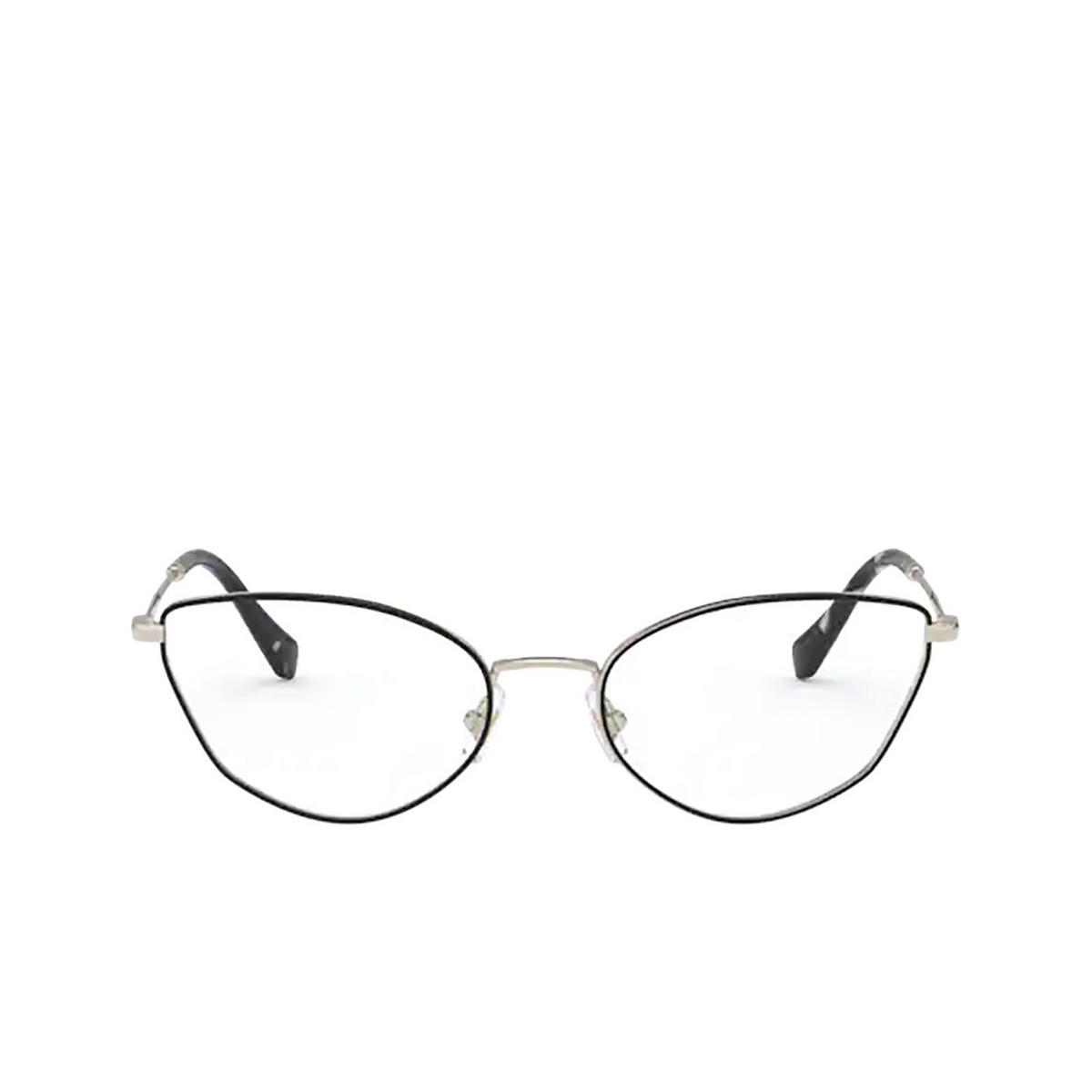 Miu Miu® Cat-eye Eyeglasses: MU 51SV color Pale Gold / Black AAV1O1 - front view.