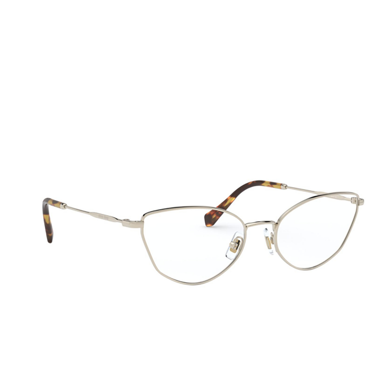 Miu Miu® Cat-eye Eyeglasses: MU 51SV color Pale Gold ZVN1O1 - three-quarters view.