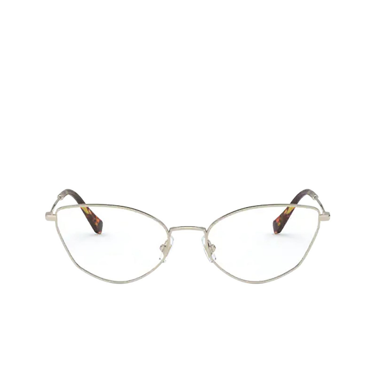 Miu Miu® Cat-eye Eyeglasses: MU 51SV color Pale Gold ZVN1O1 - front view.