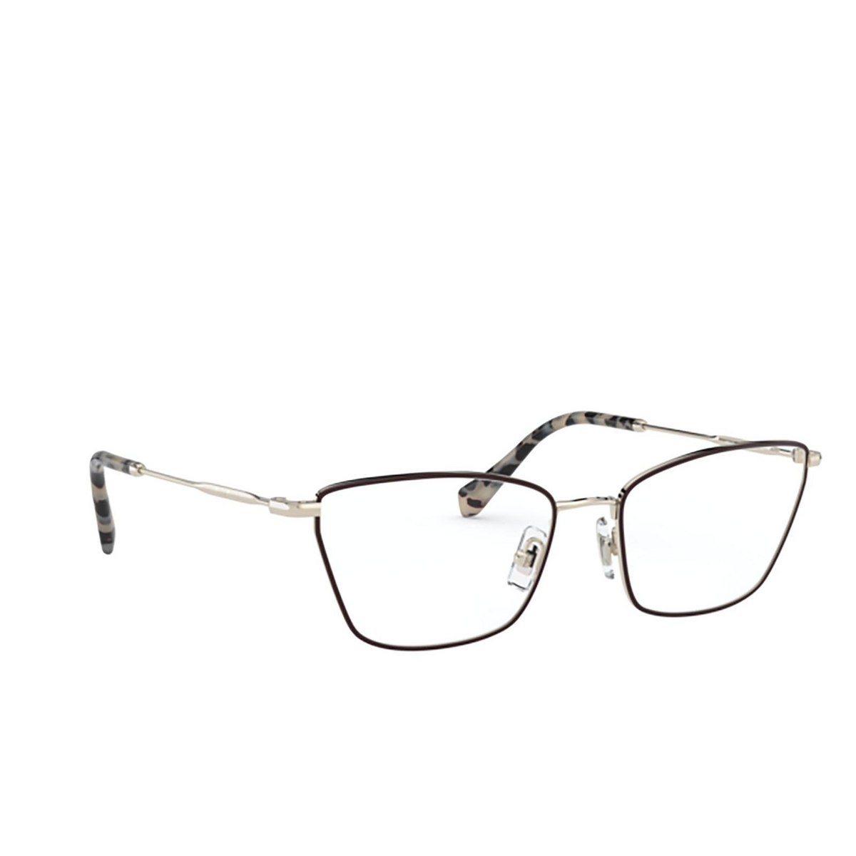 Miu Miu® Cat-eye Eyeglasses: MU 52SV color Pale Gold / Bordeaux 09B1O1 - three-quarters view.