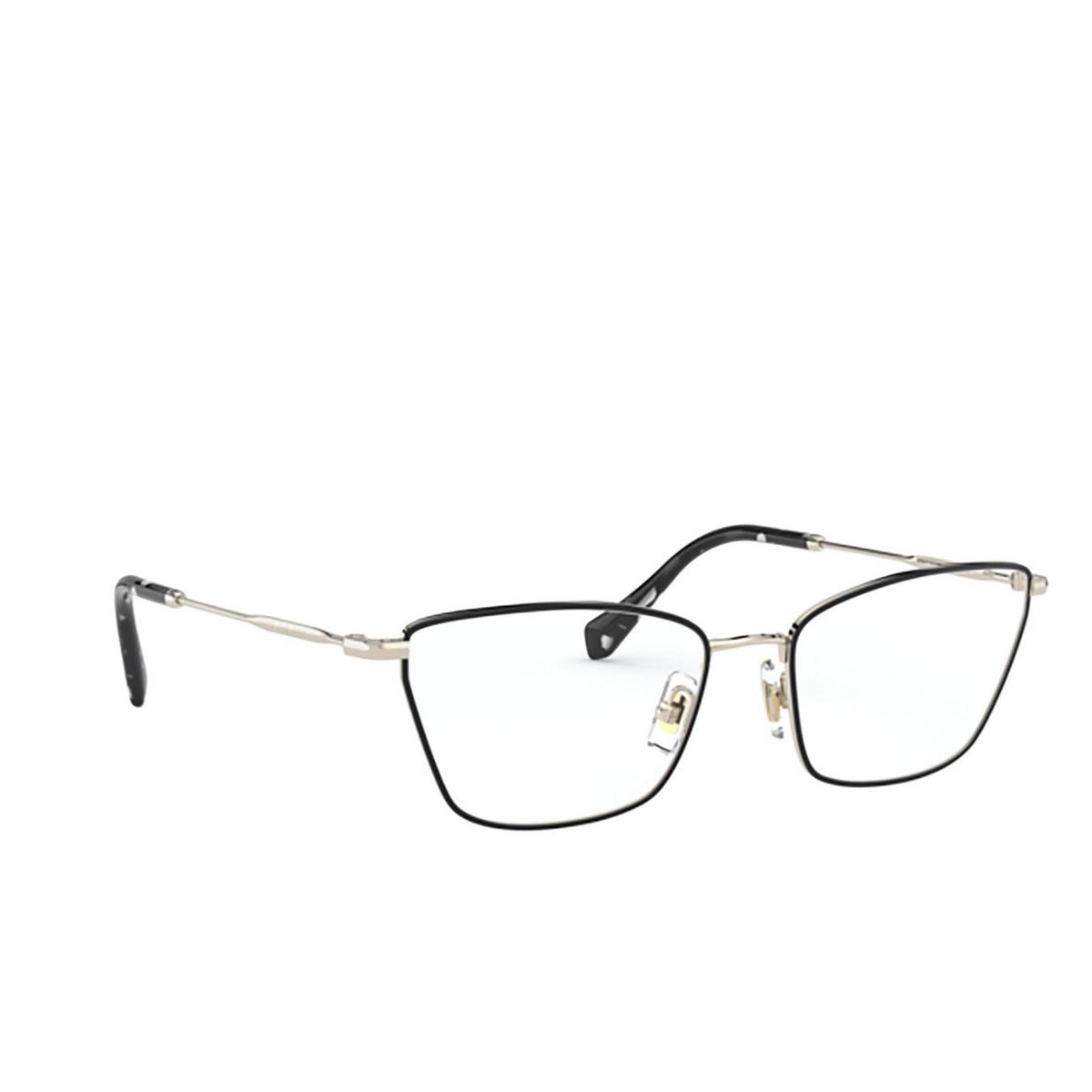 Miu Miu® Cat-eye Eyeglasses: MU 52SV color Pale Gold / Black AAV1O1 - three-quarters view.