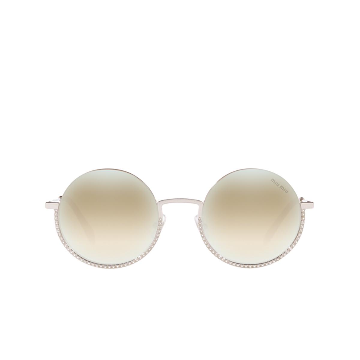 Miu Miu® Round Sunglasses: MU 69US color Silver 1BC168.