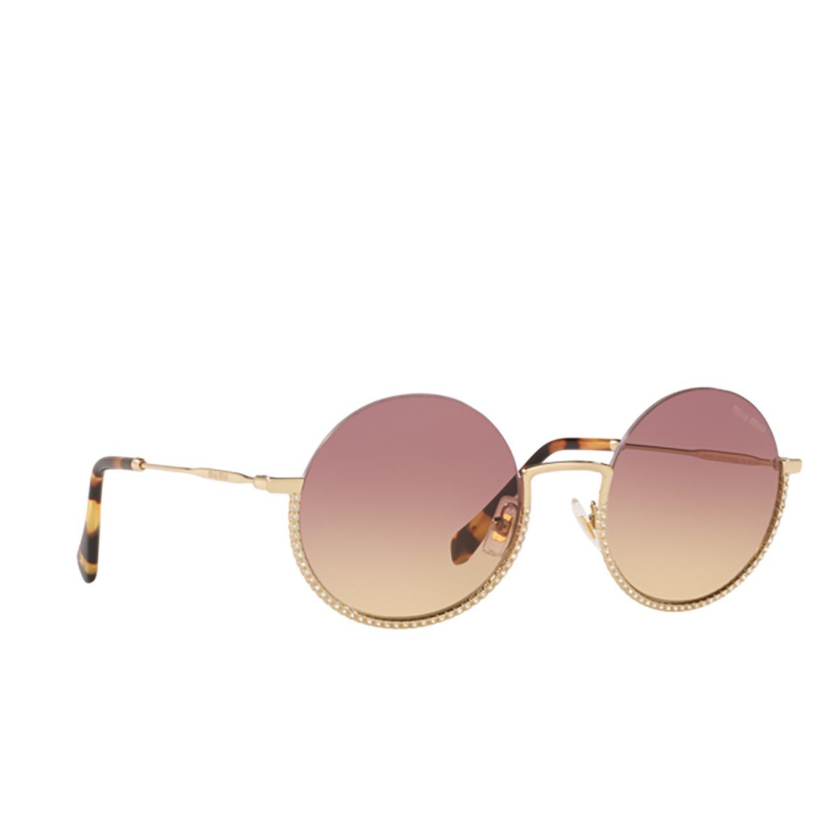Miu Miu® Round Sunglasses: MU 69US color Pale Gold ZVN09B.