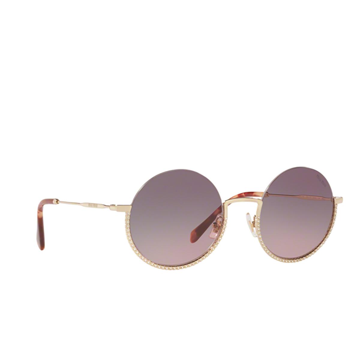 Miu Miu® Round Sunglasses: MU 69US color Pale Gold ZVN146.