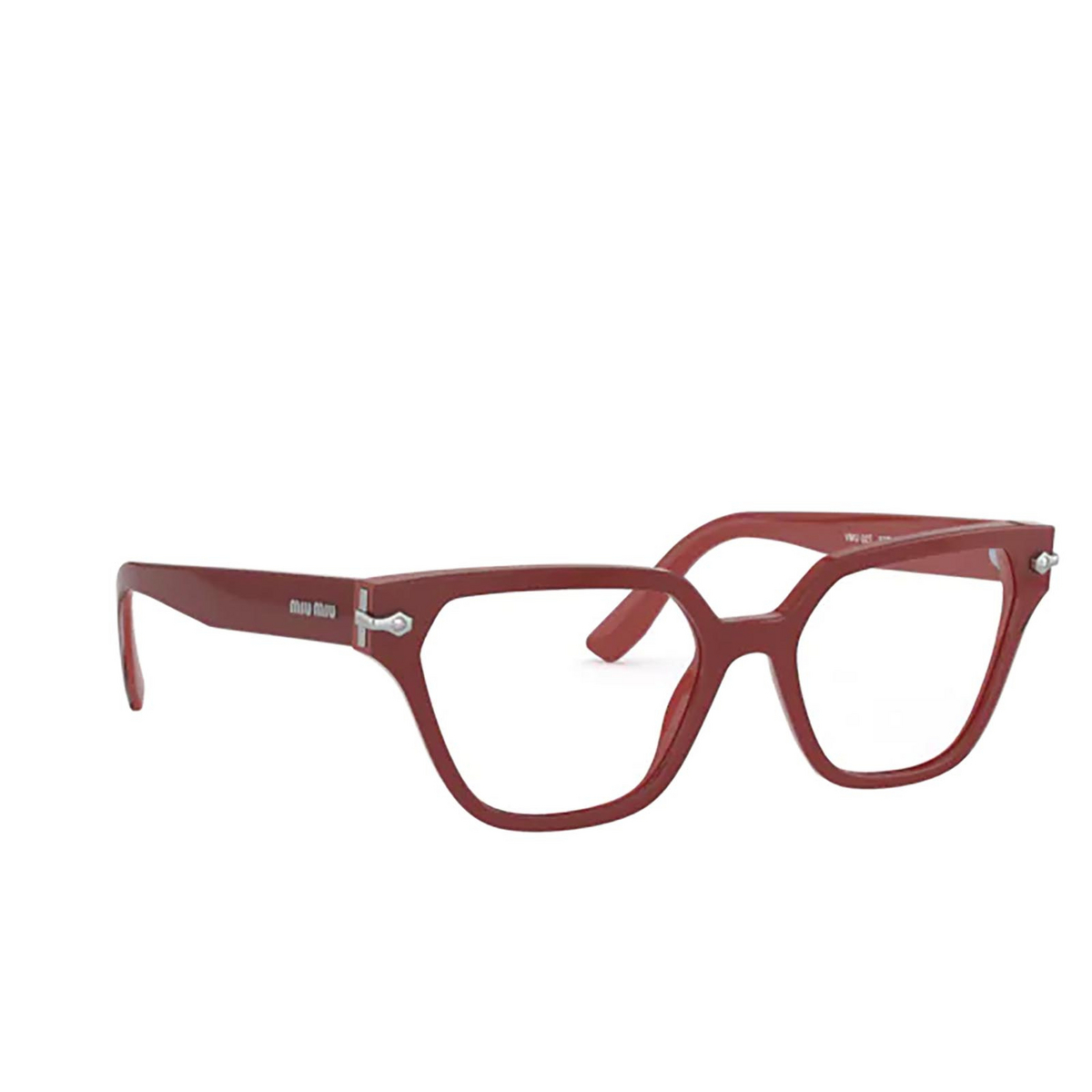 Miu Miu® Irregular Eyeglasses: Special Project MU 02TV color Dark Pink / Crystal 05F1O1 - three-quarters view.