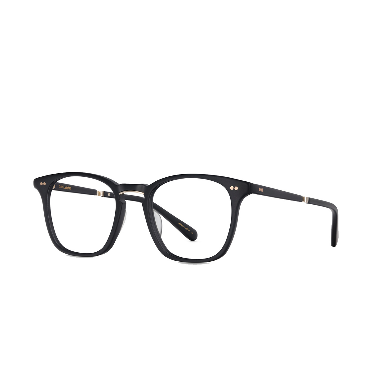Mr. Leight® Square Eyeglasses: Getty C color MBK-12KWG - three-quarters view.