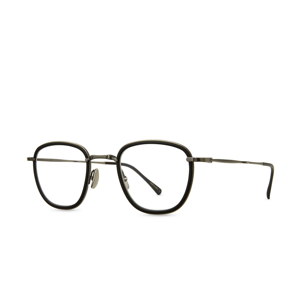 Mr. Leight® Square Eyeglasses: Griffith C color Mbk-pw-mbk - three-quarters view.