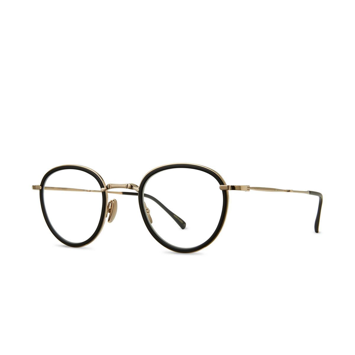 Mr. Leight® Round Eyeglasses: Mulholland C color BK-12KWG-BK - three-quarters view.