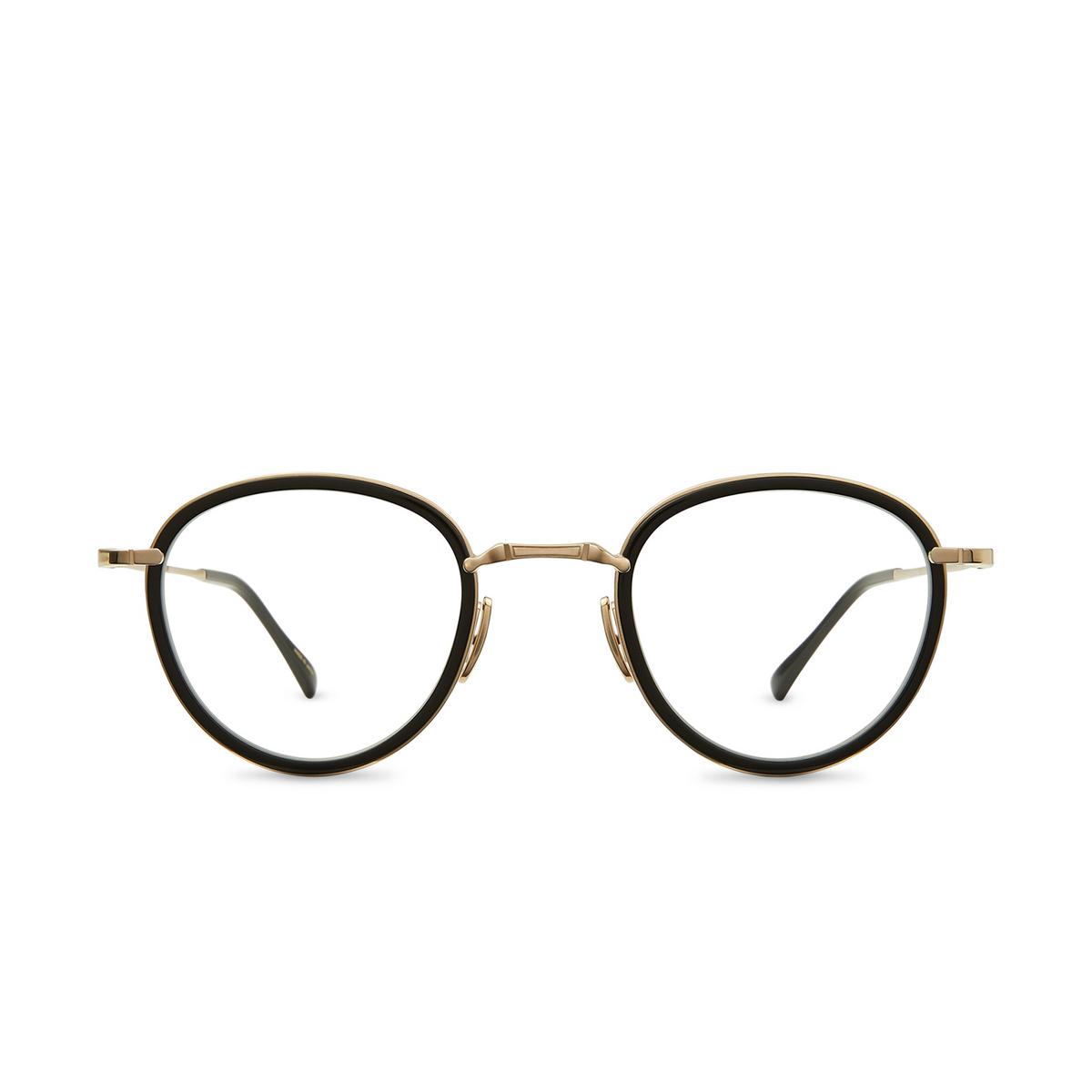 Mr. Leight® Round Eyeglasses: Mulholland C color BK-12KWG-BK - front view.