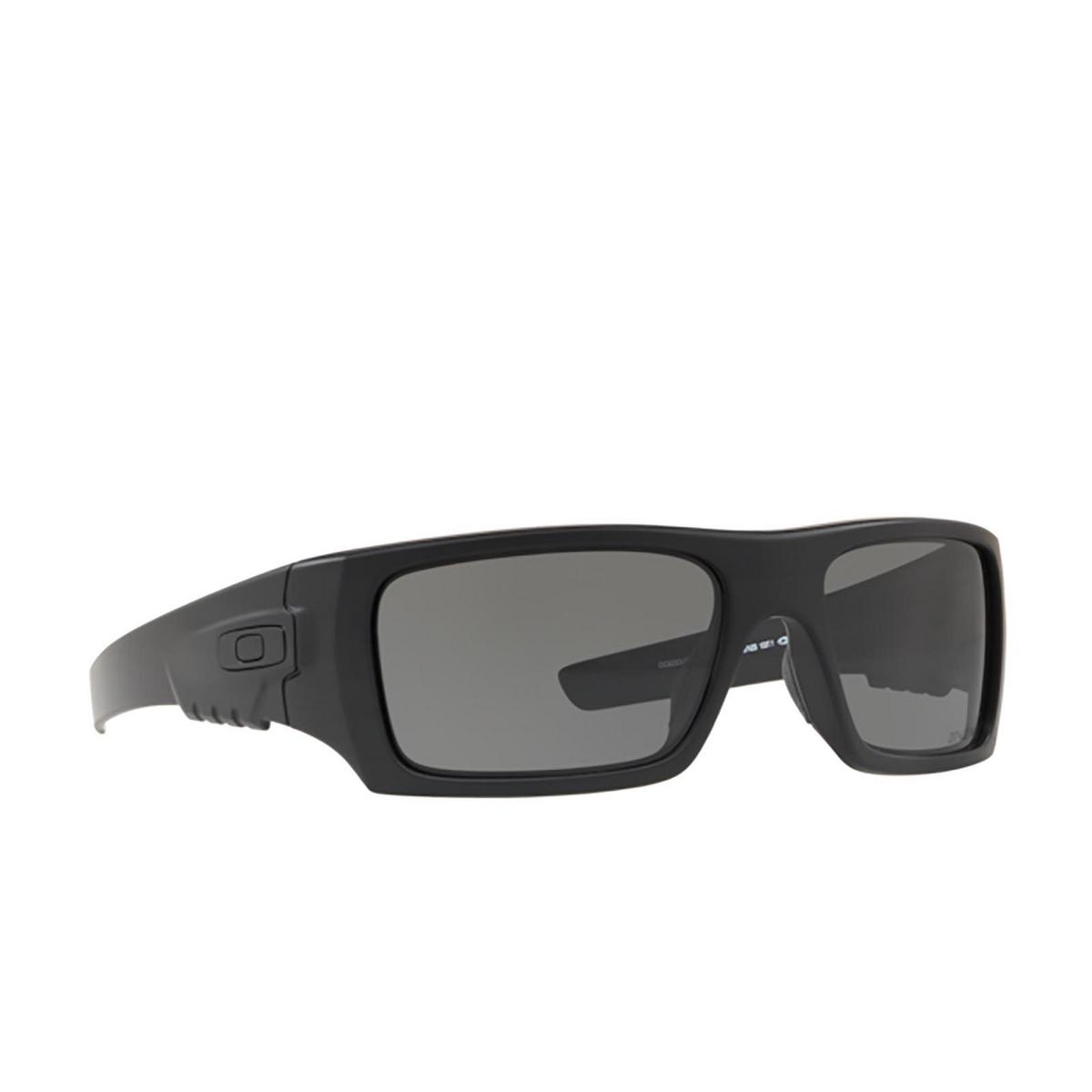 Oakley® Rectangle Sunglasses: Det Cord OO9253 color Matte Black 925306 - three-quarters view.