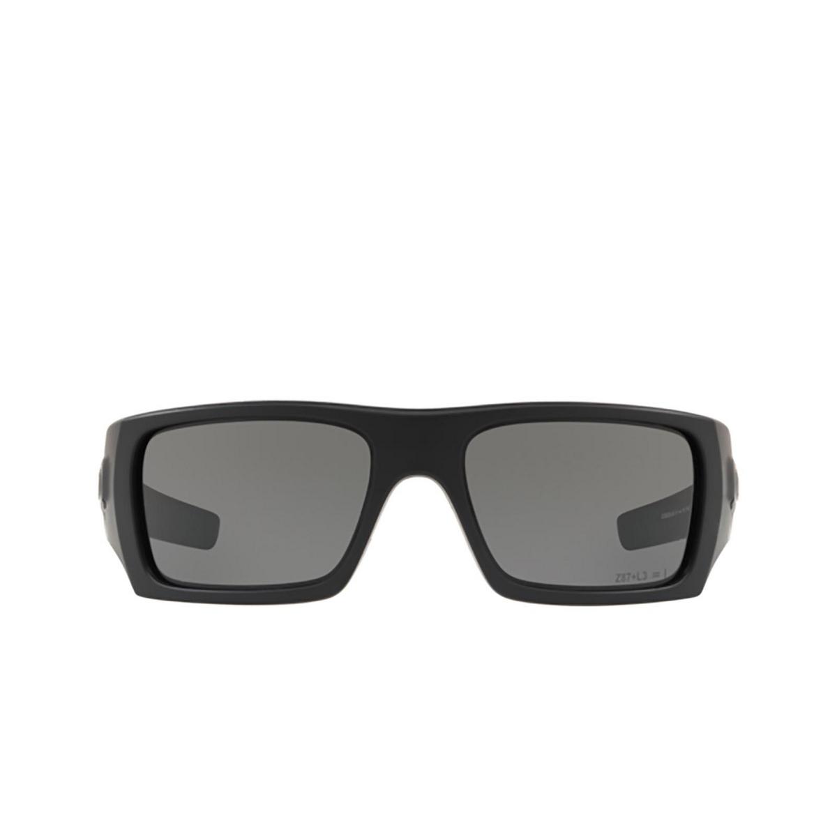 Oakley® Rectangle Sunglasses: Det Cord OO9253 color Matte Black 925306 - front view.